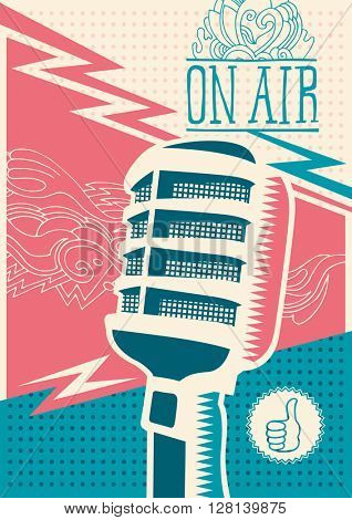 Poster with microphone. Vector illustration.