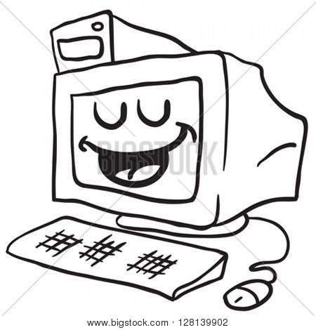 black and white happy computer cartoon illustration isolated on white