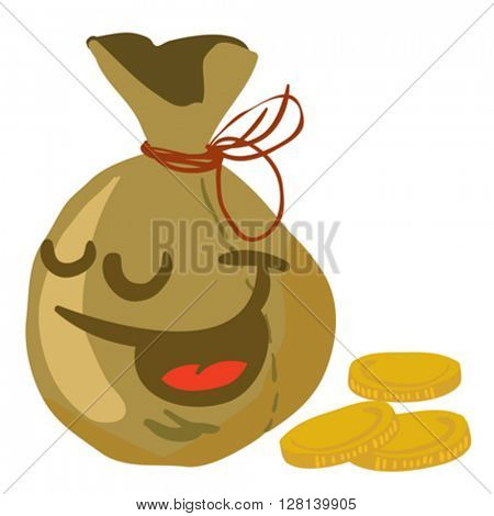 moneybag smile cartoon illustration isolated on white