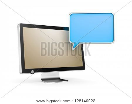Computer Monitor with chat bubble. 3d illustration