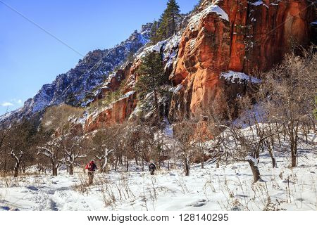 Hikers on West Fork Trail in Oak Creek Canyon near Sedona, Arizona in winter