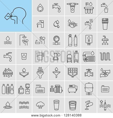 Water Treatment Process Filtration Systems Water Pump Vector Icons Set