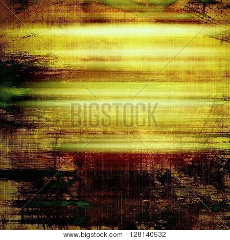 Abstract scratched background or frame with weathered grunge texture. Ancient style backdrop with different color patterns: yellow (beige); brown; gray; green; red (orange); black