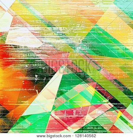 Geometric abstract grunge background or aged texture. Old school backdrop with vintage feeling and different color patterns: yellow (beige); green; blue; red (orange); pink; white
