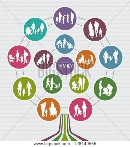 Conceptual Family Background with vector Silhouettes. Family Tree.
