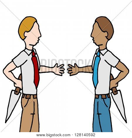 An image of a businessman and shake back stabbing.