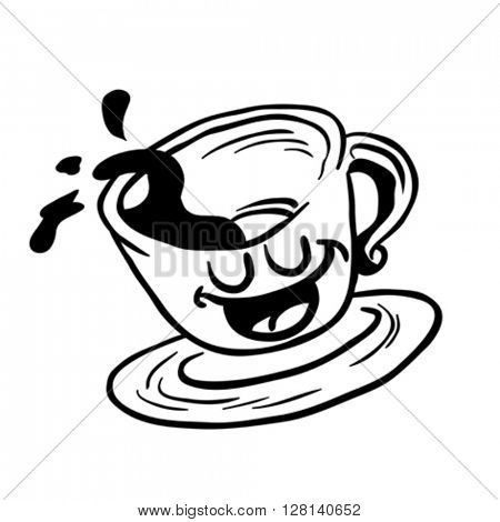 black and white happy coffee cup spill cartoon illustration