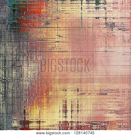 Retro design on grunge background or aged faded texture. With different color patterns: yellow (beige); gray; red (orange); pink