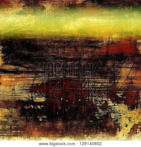 Old style decorative composition or designed vintage template with textured grunge elements and different color patterns: yellow (beige); brown; green; red (orange); black