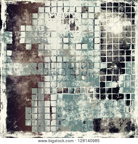 Aged background or texture. Vintage graphic composition with grunge style elements and different color patterns: brown; gray; black; cyan; white