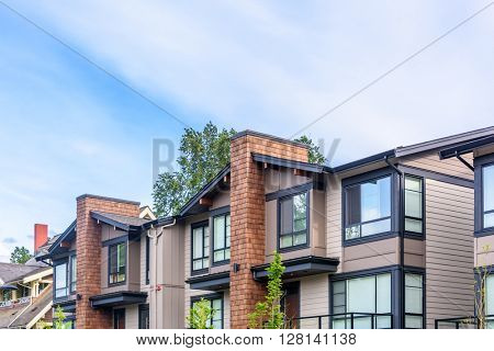 Modern apartment buildings in Richmond, British Columbia, Canada.
