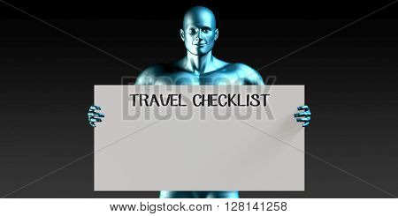 Travel Checklist with a Man Carrying Reminder Sign 3D Illustration Render