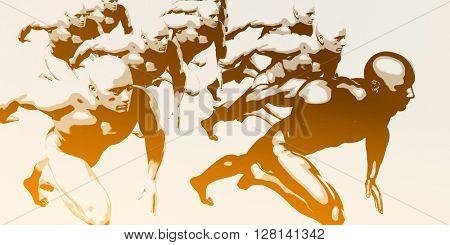 Athletes Running and Athlete Training for a Marathon