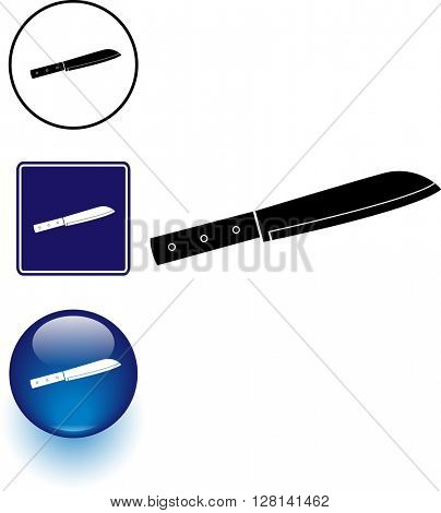 kitchen chef knife symbol sign and button