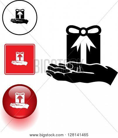hand with gift symbol sign and button