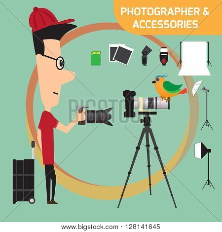 Professional photographer with camera and photo studio lighting equipment. Flat style vector illustration.