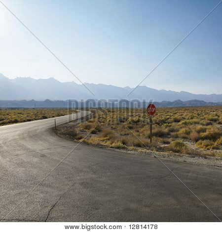 Road with stop sign in barren landscape with mountain in distance.
