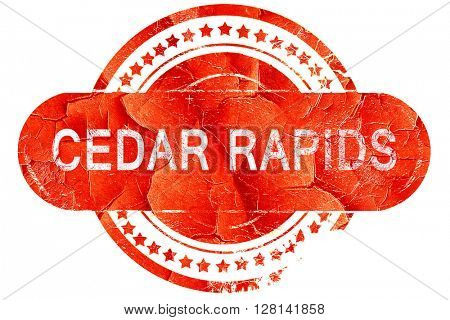 cedar rapids, vintage old stamp with rough lines and edges