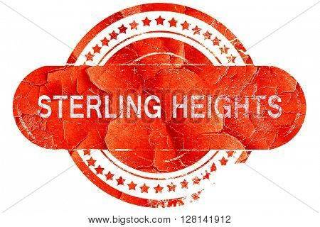 sterling heights, vintage old stamp with rough lines and edges