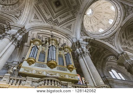 JAEN SPAIN - may 2016 2: Inside view of the Cathedral in Jaen, monumental main organ inside the choir is one of the biggest of Spain since it consists of 148 seats of honor the baroque box, Jaen, Spain