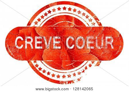 creve coeur, vintage old stamp with rough lines and edges
