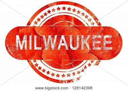 milwaukee, vintage old stamp with rough lines and edges