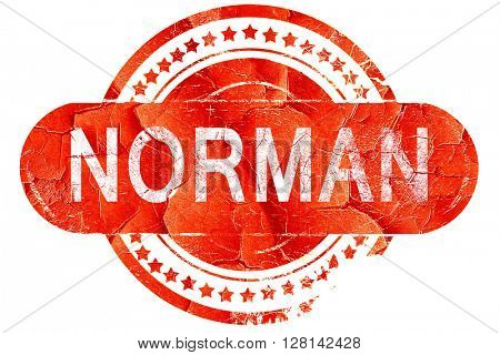 norman, vintage old stamp with rough lines and edges