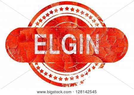 elgin, vintage old stamp with rough lines and edges
