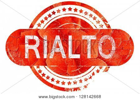 rialto, vintage old stamp with rough lines and edges