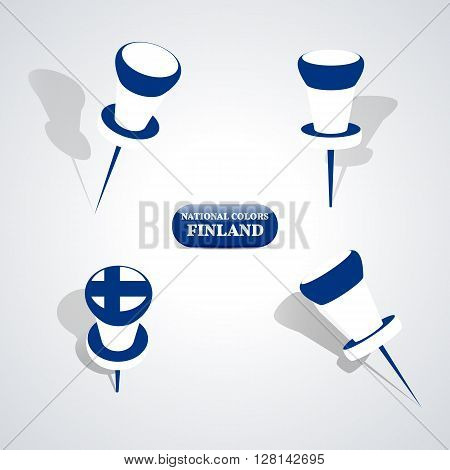 Set of pushpin in the national colors of Finland vector illustration.