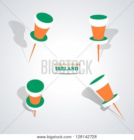 Set of pushpin in the national colors of Ireland vector illustration.