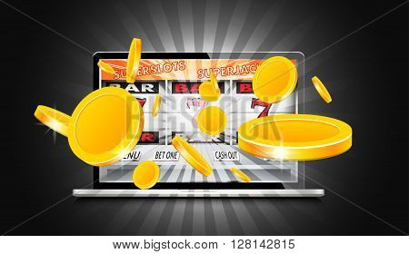 Laptop working as slot machine with gold coins coming out from the screen, vector illustration.