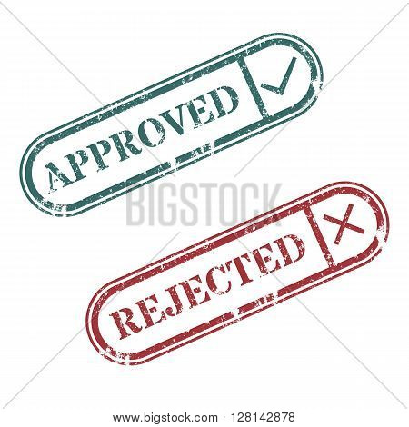 A set of rectangular stamps approved and rejected vector illustration.