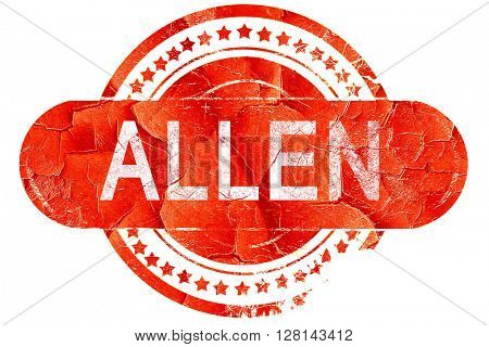 allen, vintage old stamp with rough lines and edges