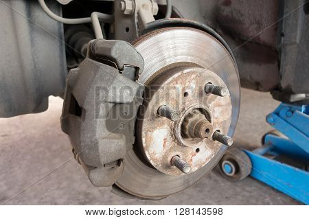 Modern car take wheel off show brake disk and caliper assembly