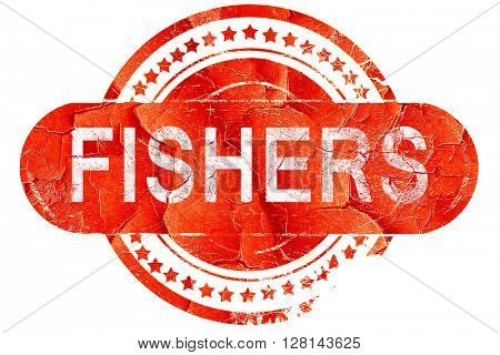 fishers, vintage old stamp with rough lines and edges