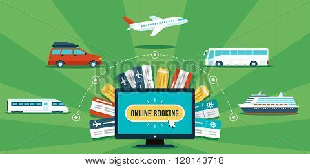 Tickets online booking concept. Various transportation and tickets around computer. Flat style. Eps 10.
