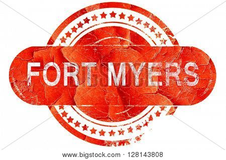 fort myers, vintage old stamp with rough lines and edges
