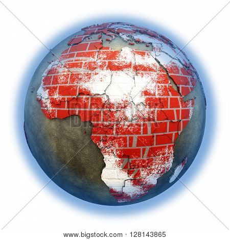 Africa On Brick Wall Earth