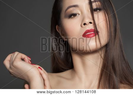 Asian Model With Red Lipstick