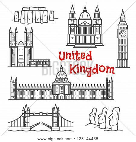British and chilean architecture landmarks and historical attractions isolated sketch icons with Big Ben, Tower Bridge, Stonehenge, moai stone figures, Windsor castle, St. Paul cathedral and Westminster palace