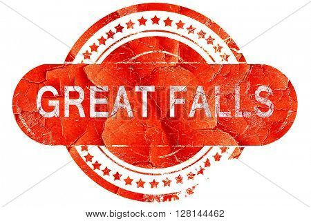 great falls, vintage old stamp with rough lines and edges