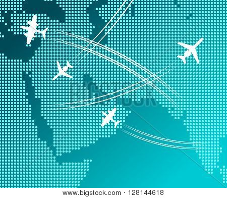 Passenger and cargo airplanes flying in blue sky with white flight tracks over abstract map. May be use as travel by plane concept, business trip or transportation service design