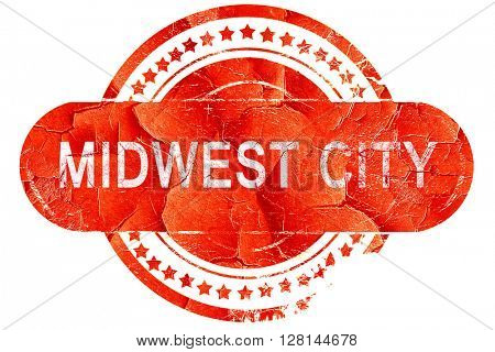 midwest city, vintage old stamp with rough lines and edges