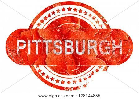pittsburgh, vintage old stamp with rough lines and edges