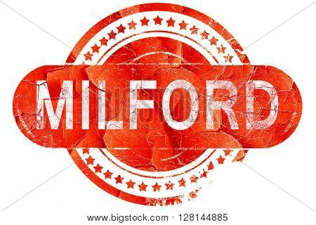 milford, vintage old stamp with rough lines and edges