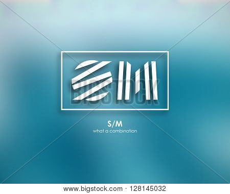 Combination of Letters S and M. Abstract Logo Design Template. Creative Concept Icon. Combination Square and Stripe.