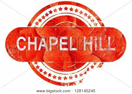 chapel hill, vintage old stamp with rough lines and edges