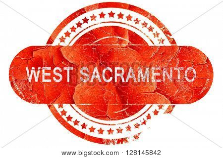 west sacramento, vintage old stamp with rough lines and edges