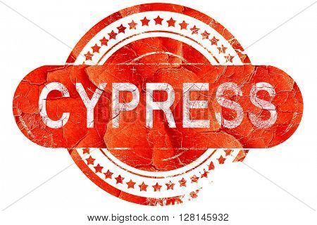 cypress, vintage old stamp with rough lines and edges